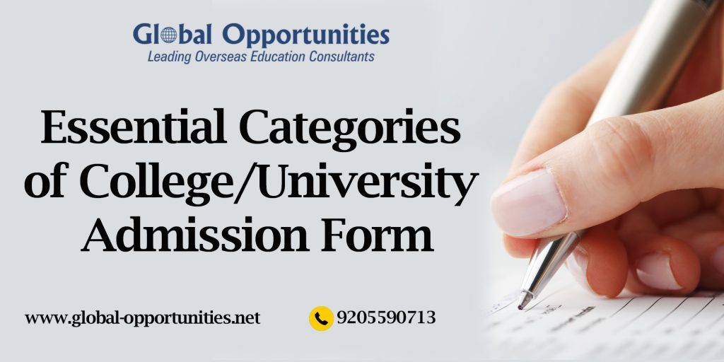 Essential Categories of College or University Admission Form